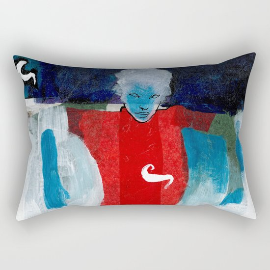 woman in the wind Rectangular Pillow
