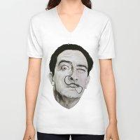 salvador dali V-neck T-shirts featuring Salvador Dali by Breanna Speed