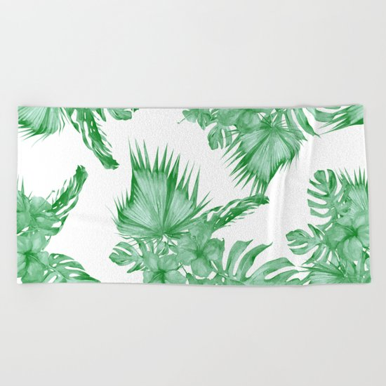 Palm Leaves and Hibiscus Tropical Green Beach Towel