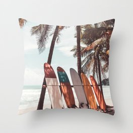Surfboard and palm tree on the beach. Summer travel sport. Vintage tone filter effect. Throw Pillow