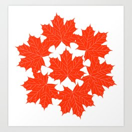 Red maple leaves pattern Art Print