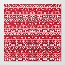 Whippet fair isle dog breed pattern christmas holidays gifts dog lovers red and white Canvas Print