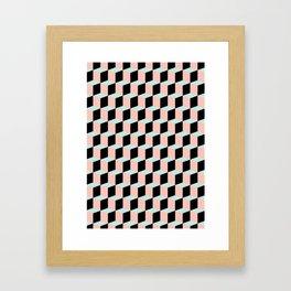 Geometric Pink and Green Pattern Framed Art Print