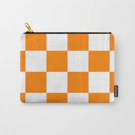 Large Checkered - White and Orange Carry-All Pouch