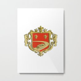 Steamboat Fleur De Lis Coat of Arms Retro Metal Print