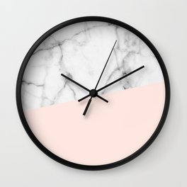 Real White marble Half Salmon Pink Wall Clock