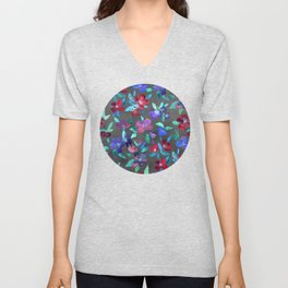 Blossoms in Cherry, Plum and Purple Unisex V-Neck