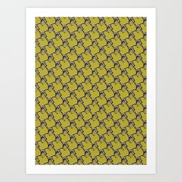 Abstract Wire Fence Chain Link Pattern, Seamless Vector Background Art Print