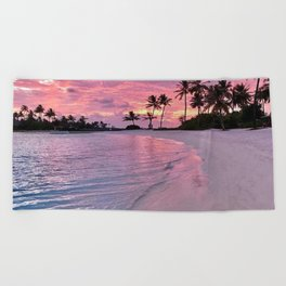 SUNSET AND PALM TREES Beach Towel