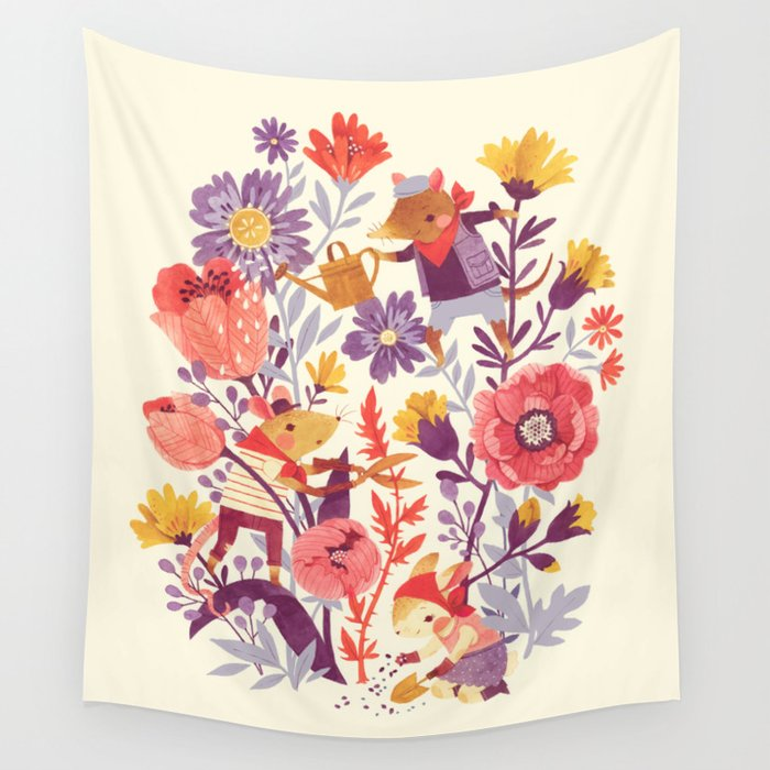 The Garden Crew Wall Tapestry