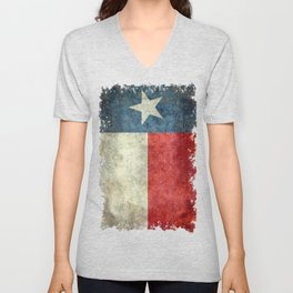 Texas state flag, Vintage banner version Unisex V-Neck