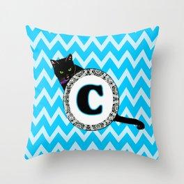 Letter C Cat Monogram Throw Pillow