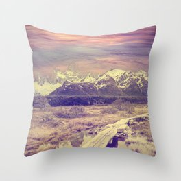 Vintage picture of Andes, Fitz Roy mountain range, Argentina  Throw Pillow