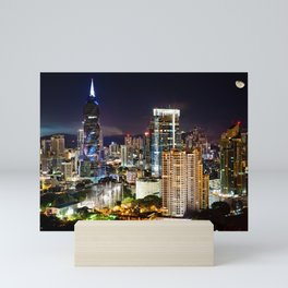 Cityscape at Night with Moon Mini Art Print