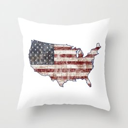USA Map American Flag distressed rustic patriotic independence 4th of July United States of America Throw Pillow