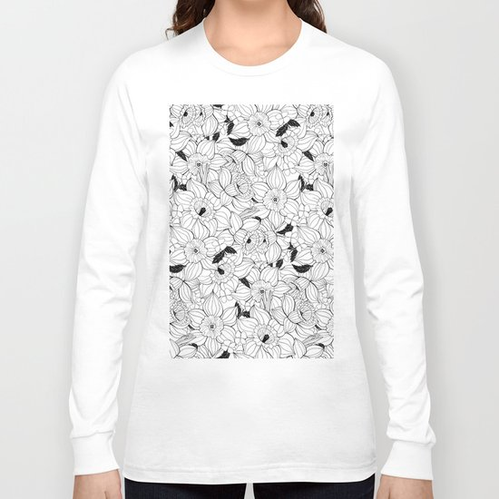 Daffodils spring floral pattern Long Sleeve T-shirt
