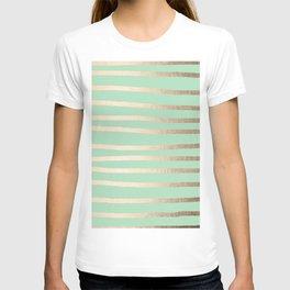 Stripes Metallic Gold Mint Green T-shirt