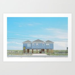 Blue Beach House Against A Blue Sky Art Print
