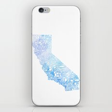 Typographic California - Blue Watercolor iPhone & iPod Skin