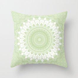 Boho Pastel Green Mandala Throw Pillow