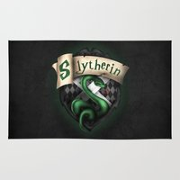 slytherin Area & Throw Rugs featuring Slytherin Crest by Sharayah Mitchell