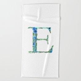 Floral Monogram Letter E Beach Towel