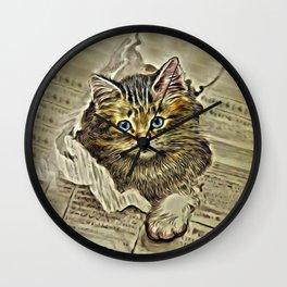 VINTAGE KITTEN DRAWING PRINT Wall Clock