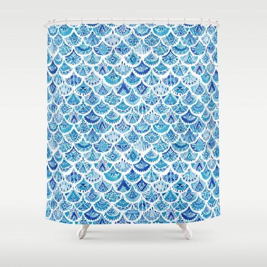 AZTEC MERMAID Tribal Scallop Pattern Shower Curtain By Barbraignatiev