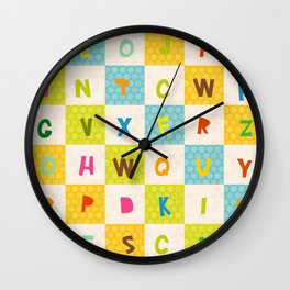 alphabet  from A to Z. Polka dot background with green blue orange square Wall Clock