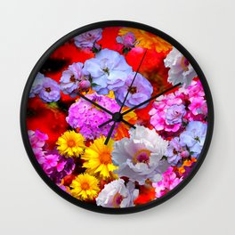 PINK-YELLOW-WHITE FLOWERS ON RED Wall Clock