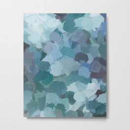 Turquoise Blue Green Mint Purple Abstract Geode Rock Wall Art Brush Painting Print Metal Print