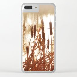 Dry bushes near the river Clear iPhone Case