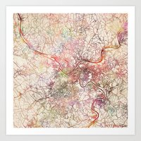pittsburgh Art Prints featuring Pittsburgh by MapMapMaps.Watercolors