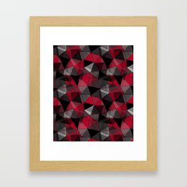 Abstract polygonal pattern.Red, black, grey triangles. Framed Art Print