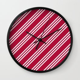 Crimson and White Large Small Small Stripes Wall Clock