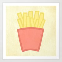 french fries Art Prints featuring French Fries by andrialou