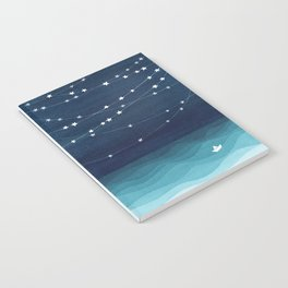 Garlands of stars, watercolor teal ocean Notebook