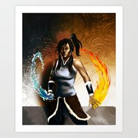 the legend of korra Art Prints featuring Korra by Antoine Dennison