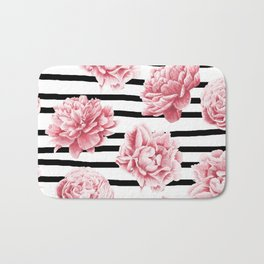 Simply Drawn Stripes and Roses Bath Mat