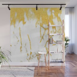 White Chocolate Marble Drizzled With Gold Veins Wall Mural