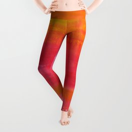 'Summer Day'  Orange Red Yellow Abstract Art Leggings