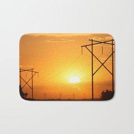 Kansas Golden Sunset with Power Lines Silhouettes Bath Mat