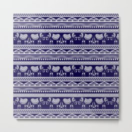 White and Navy Blue Elephant Pattern Metal Print