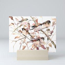 Birds on Fall Tree, Brown Sahara colors birds, sparrow, sparrow birds Mini Art Print