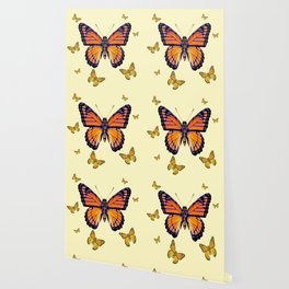 SPRING FLYING ORANGE MONARCH BUTTERFLIES ON CREAM Wallpaper