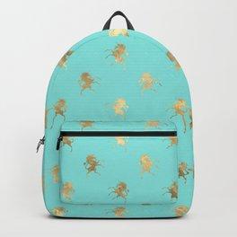Pretty Mint and Gold Unicorn Pattern Backpack