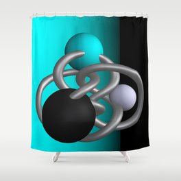 trapped -2of3- turquoise Shower Curtain