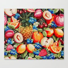 Watercolour Fruit - Bright Canvas Print
