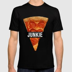Pizza Junkie MEDIUM Black Mens Fitted Tee