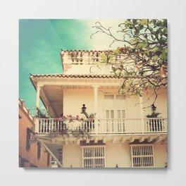 Colourful Summer Old House (Retro and Vintage Urban, architecture photography) Metal Print